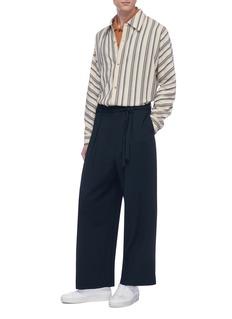 ETHOSENS Belted drop crotch wool wide leg pants