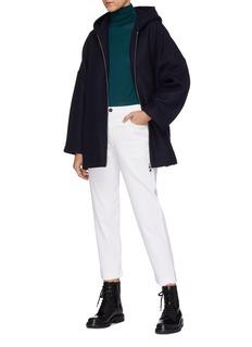 BARENA 'Core' belted hooded zip jacket