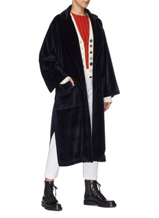 BARENA 'Loredan' notched lapel belted velour coat