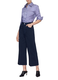 Cédric Charlier Contrast topstitching denim culottes