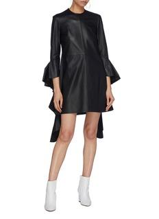 Ellery Kilkenny' ruffle drape sleeve leather mini dress