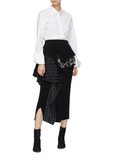 ENFÖLD Drape check plaid panel wool rib knit skirt