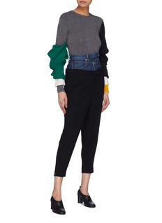 ENFÖLD Staggered denim waist panel pants