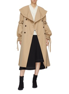 ENFÖLD Oversized collar double breasted twill trench coat