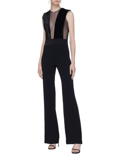 Galvan London 'Gwyneth' tulle panel velvet jumpsuit