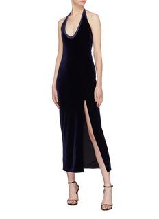 Galvan London 'Ellipse' side split  velvet halterneck dress