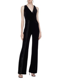 Galvan London 'Brushstroke' fringe trim velvet mock wrap jumpsuit