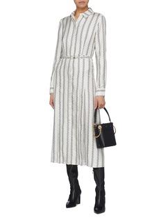 Gabriela Hearst 'Jane' belted boot stripe print dress