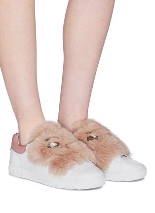 Panda' faux fur strass leather sneakers