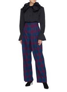 Marc Jacobs Pleated tartan plaid wool twill wide leg pants