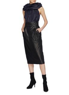 Marc Jacobs Ruffle yoke tartan plaid silk sleeveless blouse
