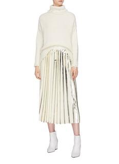 MAISON FLANEUR Metallic stripe pleated wool knit midi skirt