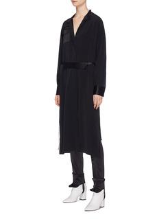 MAISON FLANEUR Belted chest pocket satin shirt dress