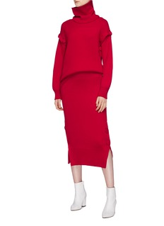 MAISON FLANEUR Button outseam wool rib knit midi skirt