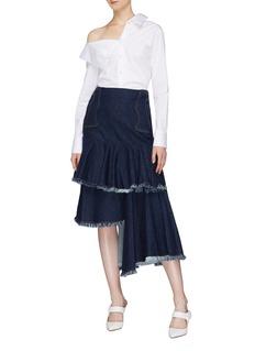 Johanna Ortiz 'Urban Legend' asymmetric ruffle tiered denim skirt