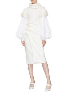 Johanna Ortiz 'American Folklore' detachable feather balloon sleeve turtleneck blouse