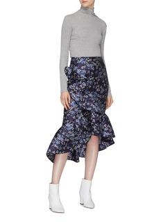 Johanna Ortiz 'Belladonna' ruffle drape floral jacquard high-low skirt