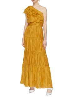 Johanna Ortiz 'Daydream' frayed ruffle pleated tiered one-shoulder dress