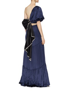 Johanna Ortiz 'Spirit Warrior' bow open back tiered one-shoulder dress