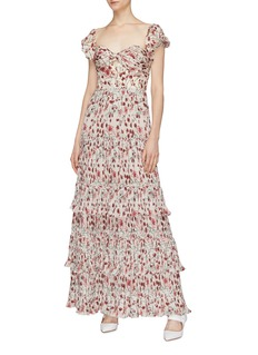 Johanna Ortiz 'The Lady of Shalott' tie open back floral print dress