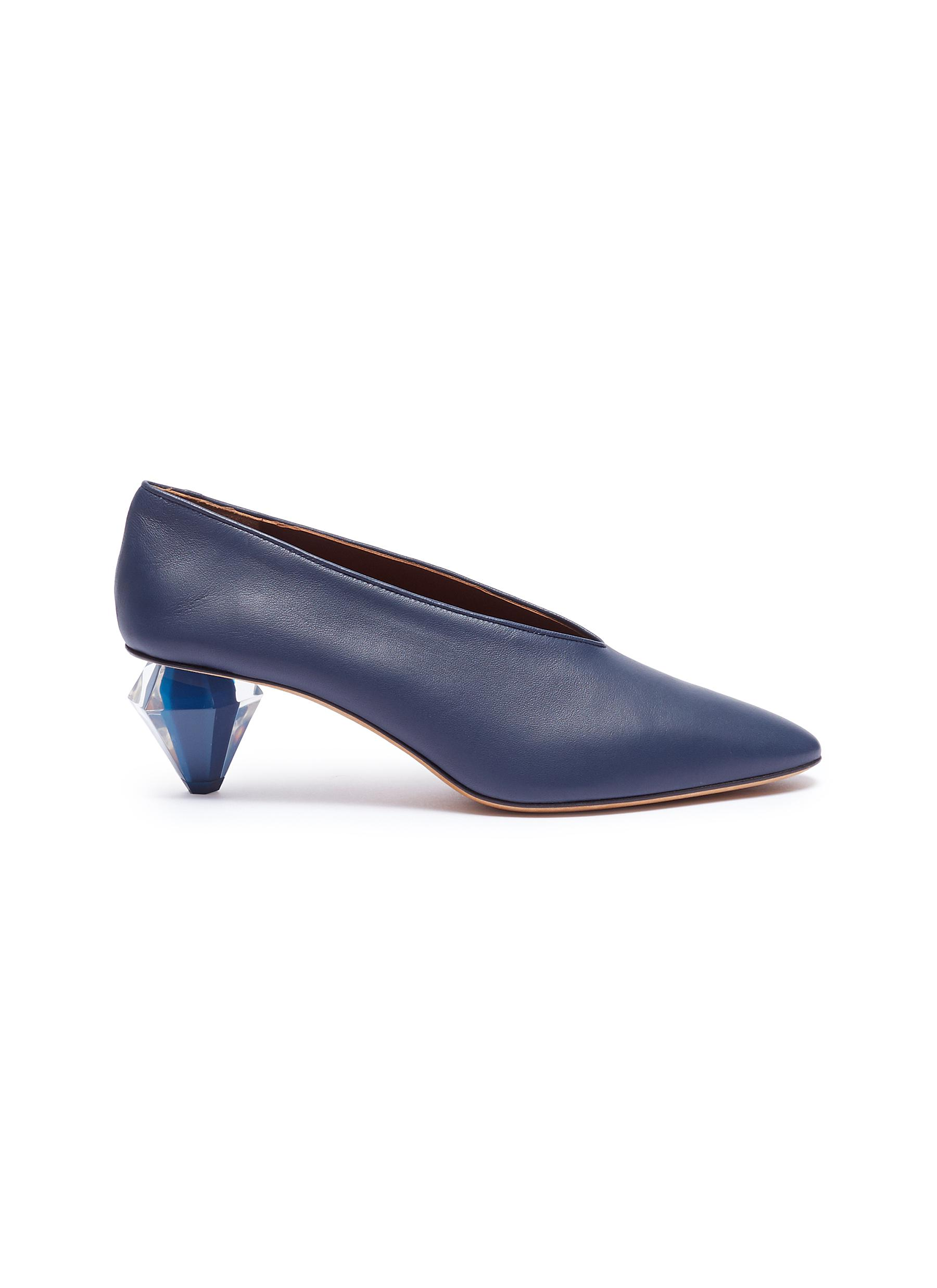 Diamante geometric heel choked-up leather pumps by Gray Matters