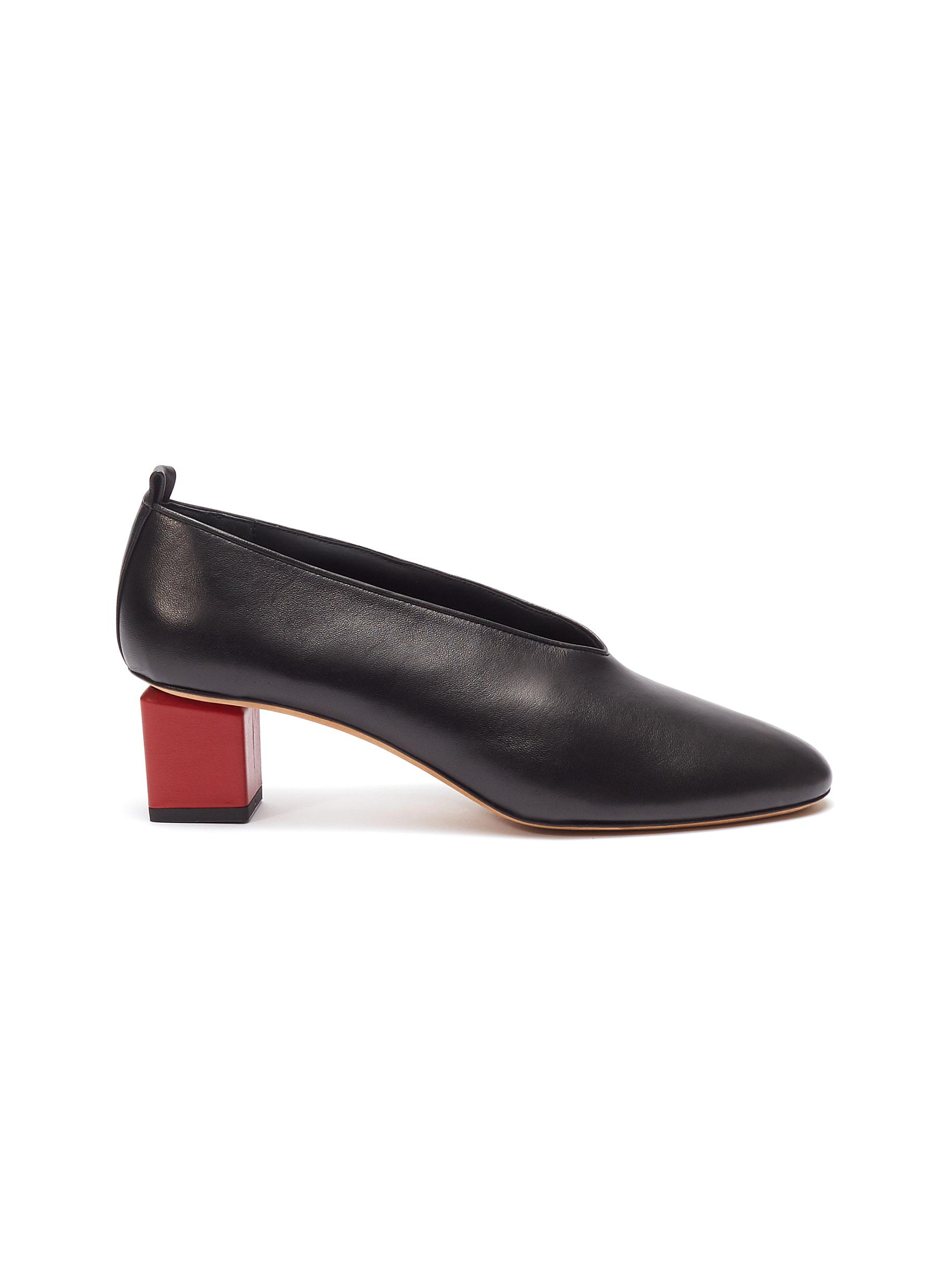 Mildred' geometric heel choked-up leather pumps