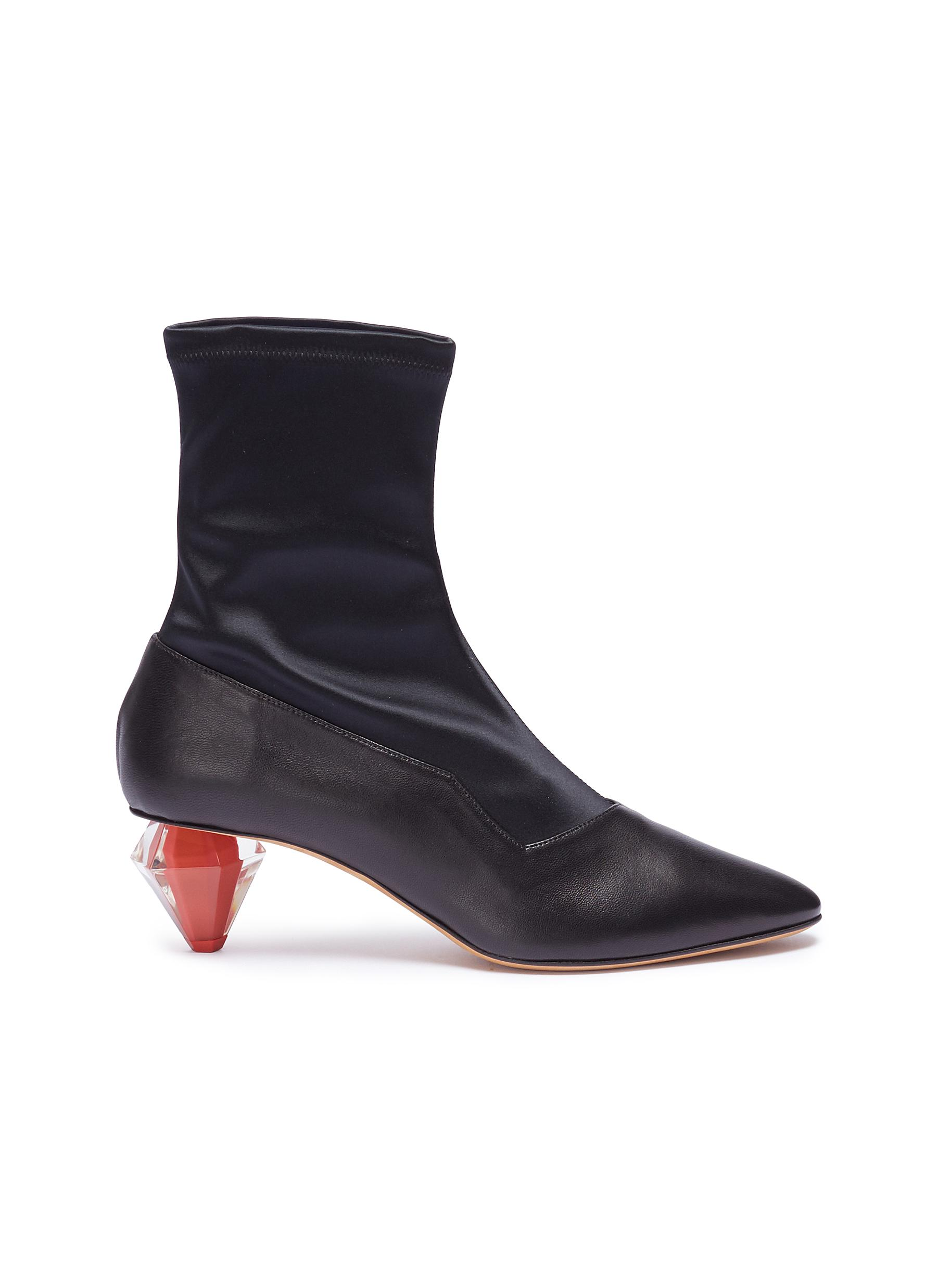 Diamante geometric heel satin panel leather boots by Gray Matters
