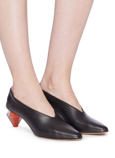Gray Matters 'Diamante' geometric heel choked-up leather pumps