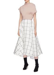 Maticevski 'Promising' windowpane check ruffle herringbone skirt