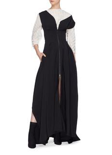 Maticevski 'Shadowed' convertible belted asymmetric shoulder zip coat gown