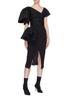 Maticevski 'Cause' split front ruffle drape skirt