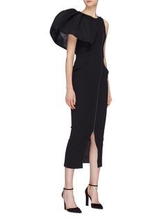 Maticevski 'Anticipate' puff ruffle sleeve zip front dress