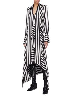 Petar Petrov 'Duscha' sash tie neck drape stripe silk dress
