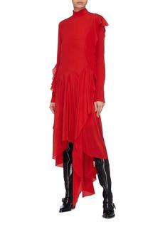 Petar Petrov 'Dana' asymmetric ruffle drape turtleneck dress
