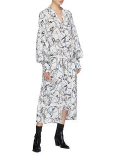rokh Detachable panel graphic print dress