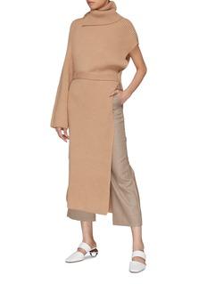 Rosetta Getty Asymmetric tie waist cashmere rib knit turtleneck tunic