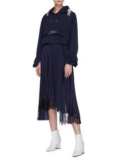 Collina Strada Embellished shoulder grommet drape hoodie