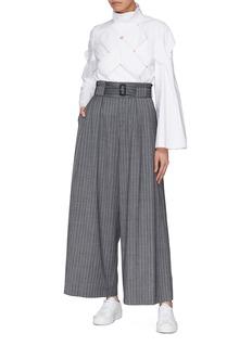 The Keiji Belted stripe herringbone wide leg pants