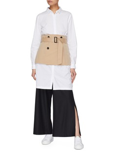 The Keiji Detachable belted trench panel wide leg pants