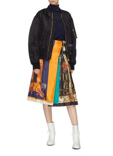 TOGA ARCHIVES Belted graphic print pleated wrap skirt