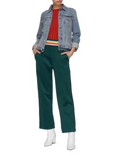 Mira Mikati Rainbow waistband stripe outseam scuba jersey track pants