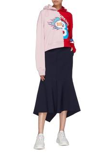 Mira Mikati Colourblock slogan graphic print drawcord hoodie
