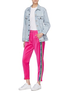Mira Mikati 'Adrenaline Seekers' slogan stripe outseam jogging pants