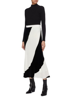Tome Colourblock velvet skirt
