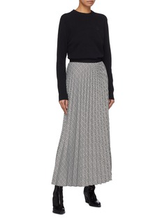 Tome Pleated houndstooth check plaid wrap skirt