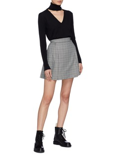 Tome Pleated houndstooth check plaid kilt skirt