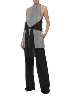 Tome Sash tie waist pleated houndstooth panel sleeveless top