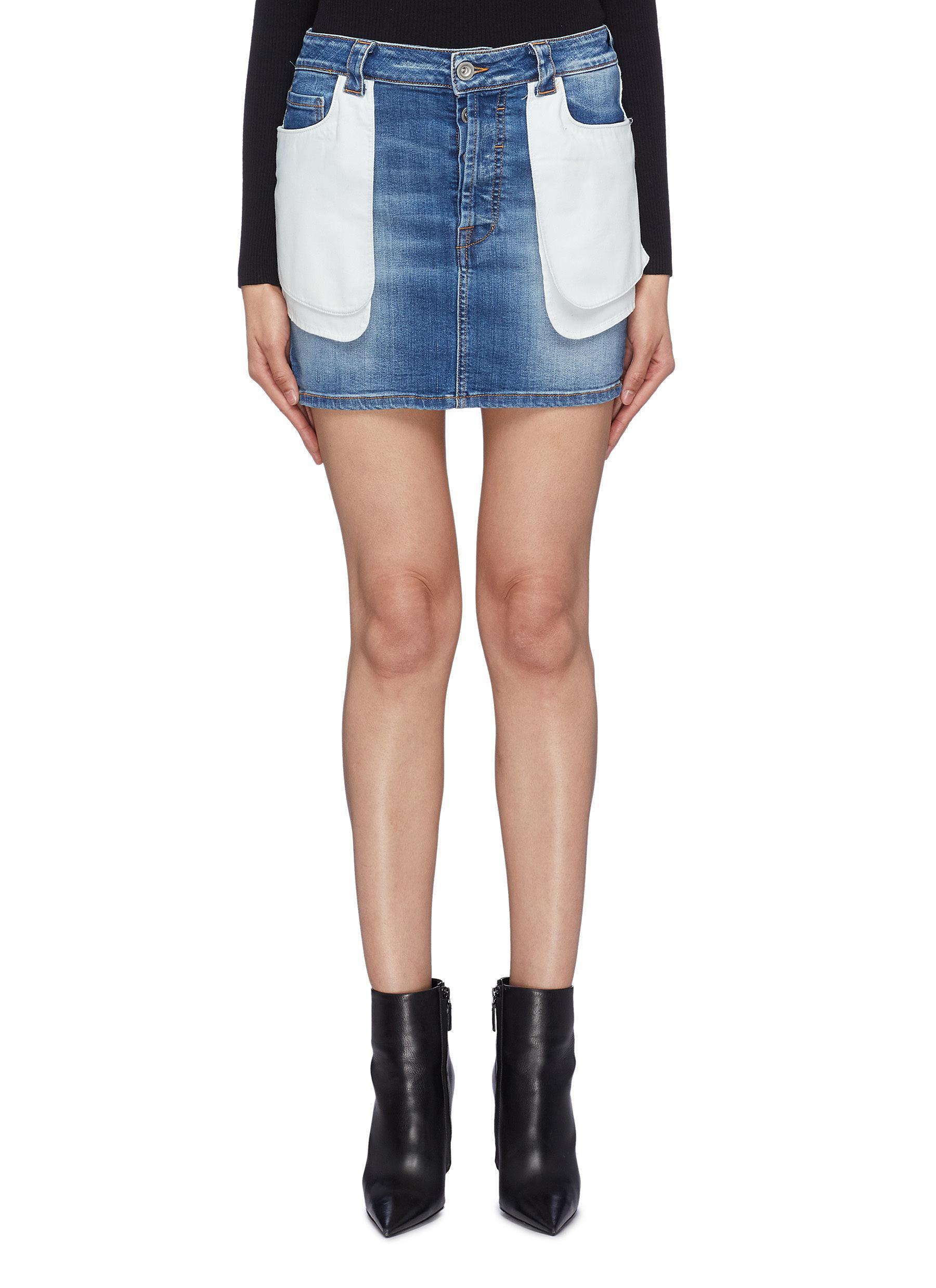 339485ac1dbd Ben Taverniti Unravel Project. Contrast layered pocket panel washed denim  skirt