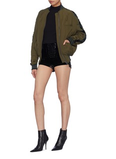Ben Taverniti Unravel Project  Lace-up velvet shorts