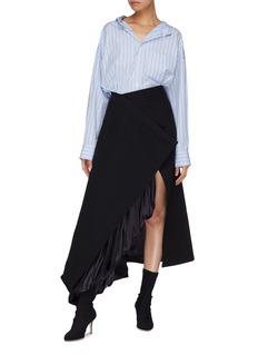 Y/Project Drape lining asymmetric hem wrap wool twill skirt